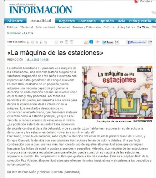 Diario Información habla de 'La máquina de las estaciones'